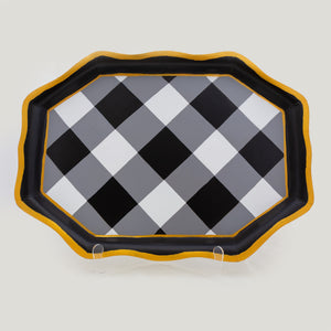 Buffalo Plaid Gingham Tea Tray - Black and White