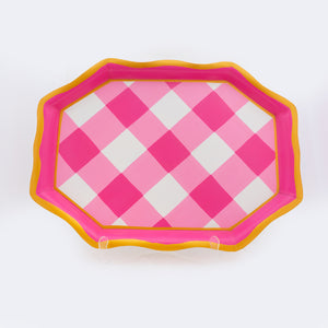 Buffalo Plaid Gingham Tea Tray - Pink