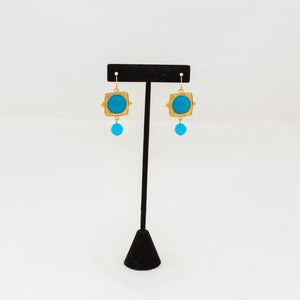 Susan Shaw Handcast Gold Square and Turquoise Earrings