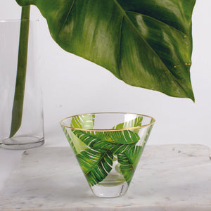 Stemless Martini Glass - Botanical Palm Leaf