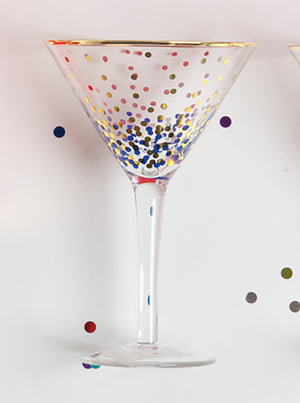 Blue and Gold Dot Martini Glass
