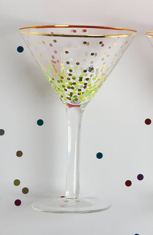 Green and Gold Dot Martini Glass