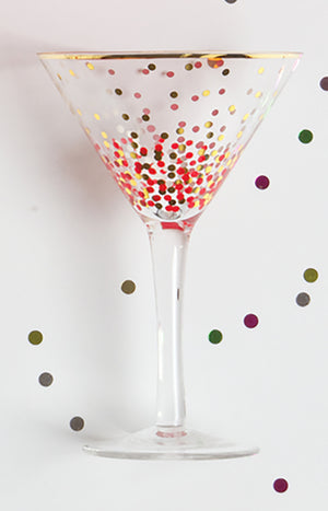 Martini Glass - Red and Gold Dot