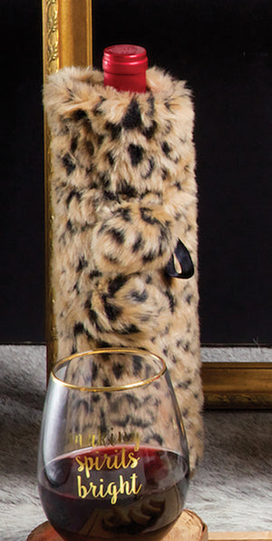 Luxe Faux Fur Wine Bag - Leopard