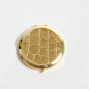 Compact Mirror - Gold Crocodile