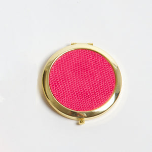 Compact Mirror - Bright Pink Crocodile