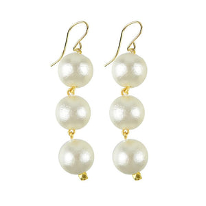 Europa Cotton Pearl Drop Earring