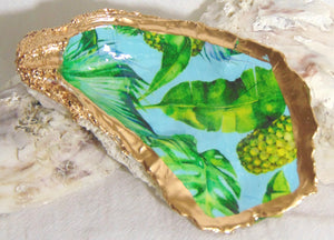 Oyster Shell Jewelry Bowl - Tropical Leaves in Aqua