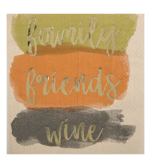 Cocktail Beverage Napkin - Family, Friends, Wine