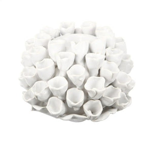 Open Coral Candle Holder - White