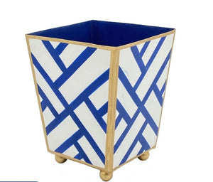 "Newport Square Cachepot 6"" Blue and White"