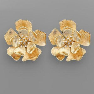 Crystal Accent Floral gold earring