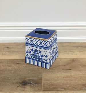 Pagoda Tissue Box Cover - Blue