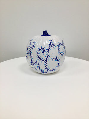 Large Pumpkin - Glossy White and Blue