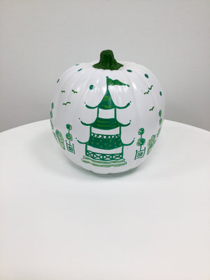 Large Pumpkin - Glossy Bright White and Green Pagoda