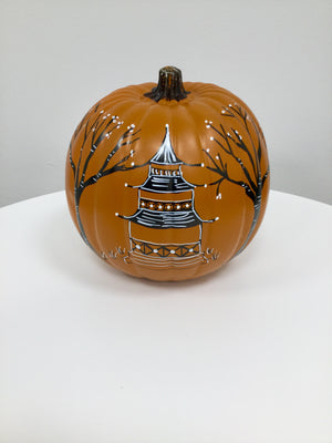 Large Pumpkin - Glossy Orange with Pagoda and BOO