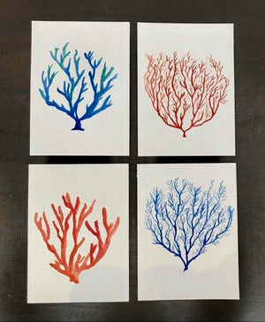 Coral Collection Watercolor Print Set