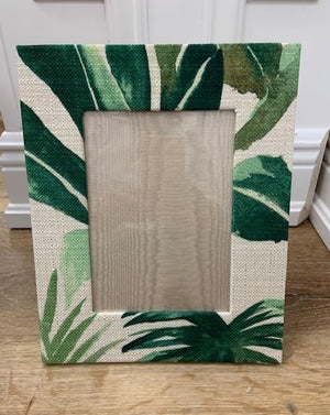 Green and Cream Linen Palm 5 x 7 Frame