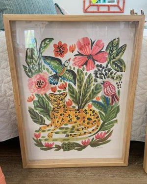 24 x 32 Maple Framed Artwork Cheetah #1