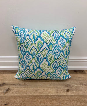 Turquoise and Lime green throw pillow 18 x 18