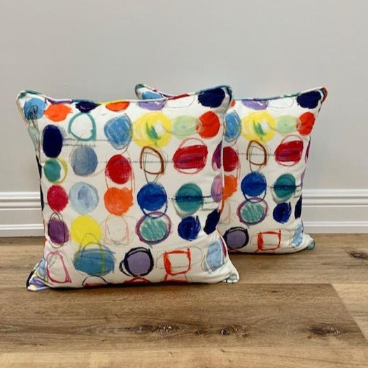 Pair of Circles Multi 20 x 20 Custom Toss Pillows