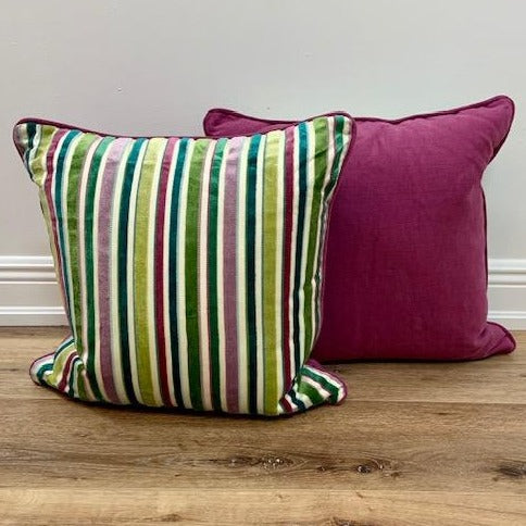 Pair of Velvet Stripe Custom  20 x 20 Toss Pillows