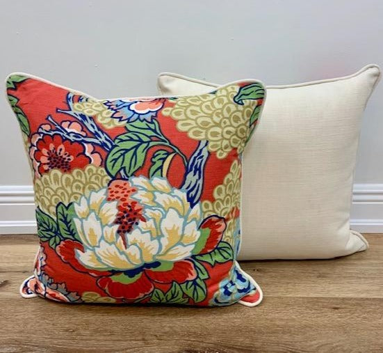 Pair of Coral Honshu Custom Toss 20x20 Toss Pillows