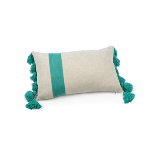 Embroidered Throw Pillow 12x20 Turquoise Linen