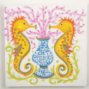 Cocktail Beverage Napkin - Seahorse Watercolor