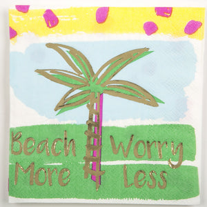 Cocktail Beverage Napkin - Beach More Worry Less