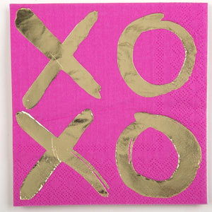 Cocktail Beverage Napkin - XOXO on Pink