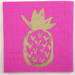 Cocktail Beverage Napkin - Large Pineapple on Pink