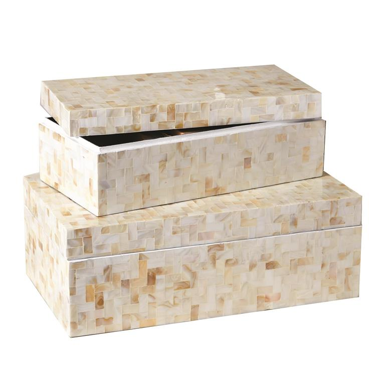 Lamina Covered Mother of Pearl Decorative Box Set/2