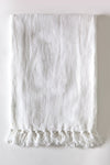 Montauk White Linen Throw Blanket