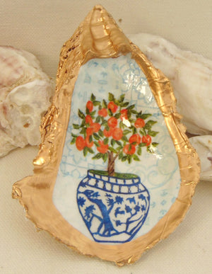 Oyster Shell Jewelry Bowl Orange Topiary