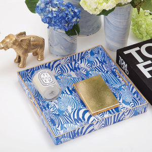 Blue and White Zebra Print Tray