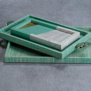 Raffia Palm Tray Jade - Large
