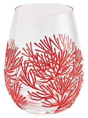 Coral Stemless Wine Glasses Red