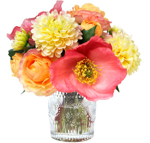 Diane James Carnival Magic Mixed Pink Bouquet in Embossed Vase