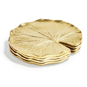 Set of 4 Golden Lilly Leaf Coasters