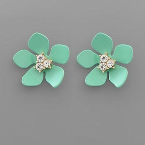 Glossy Mint Floral Earrings