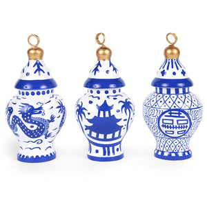 Assorted Ginger Jar Ornament - Blue and White Chinoiserie