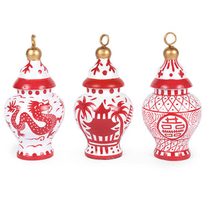 Assorted Ginger Jar Ornament - Red and White Chinoiserie