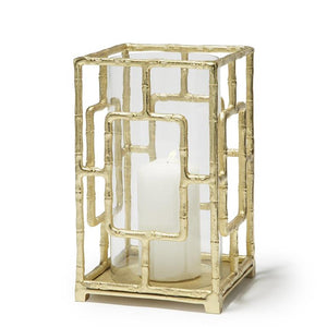 Gold Bamboo Hurricane Candleholder Nickle Plated