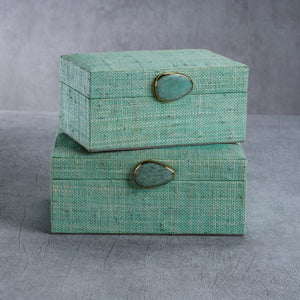Raffia Palm Box Jade - Large