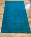 Peacock Teal Vintage Antique Rug 6 x 10