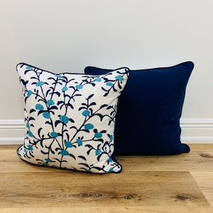 Pair of Navy Vine with Berries Custom 20 x 20 Toss Pillows