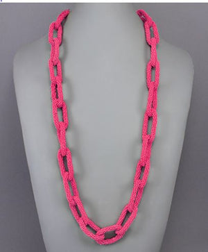 Long Bead Chain Necklace Neon Pink