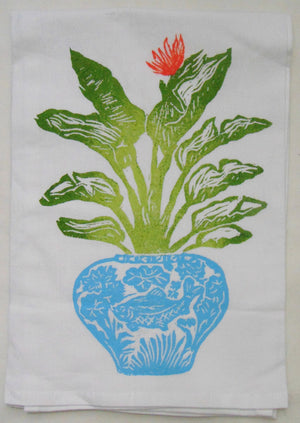 Aqua Birds of Paradise Flour Sack Towel