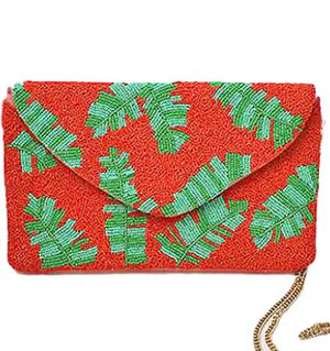 Tropical Leaf Bead Envelope Clutch